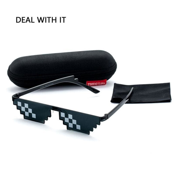 Deal With It Sunglasses Men Thug Life Glasses Women Hot Sell Plus Size Minecraft Polygonal 8 Bits Style Pixel With Nose Pad Apparel &