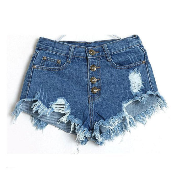 Denim Shorts Women Fashion Ladies Tassel Hole High Waist Summer Short Jeans Sexy Mini Booty Shorts For Woman White Black Apparel &