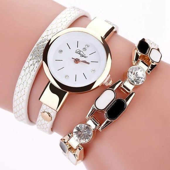 Duoya Dy106 Fashionable Women Bracelet Watch Vintage Leather Strap Quartz Watch Apparel & Accessories > Jewelry > Watches