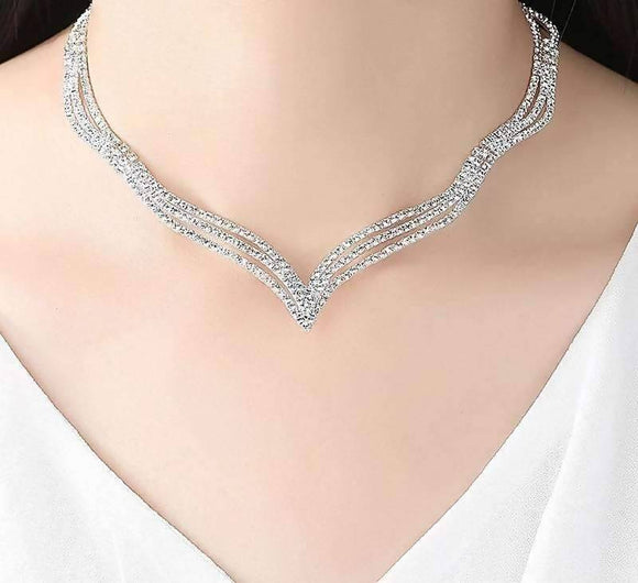 Simple Rhinstone Crystal Bridal Jewelry Sets Rhinestones