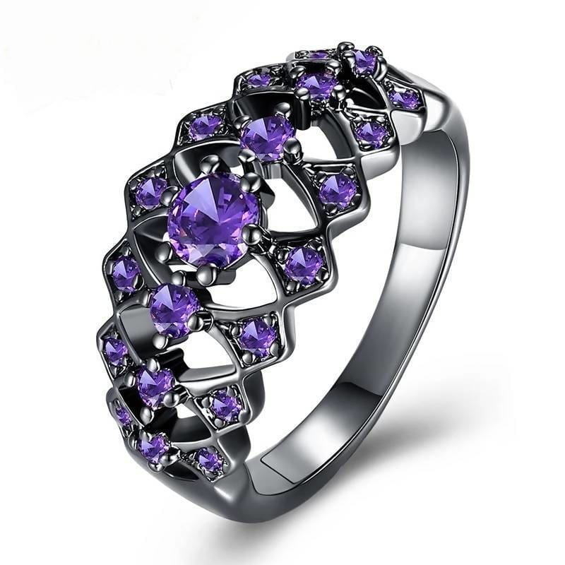 Exquisite Hollow Out Zircon Geometric Black Gun Plated Ring Jewelry & Accessories > Rings