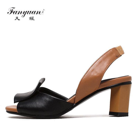 Fanyuan Summer Shoes Woman Sandals Mixed Colors Ladies Sandals Stylish Back Strap High Heels Women Party Dress Shoes Black Leather Charm
