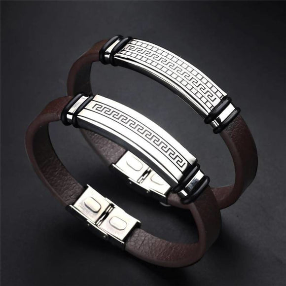 Fashion Handmade Stainless Steel Genuine Leather Bracelet Apparel & Accessories > Jewelry > Bracelets