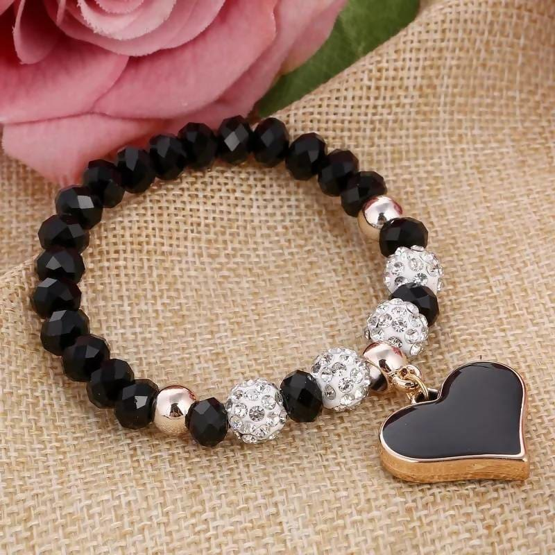 Fashion Women Heart Pendant Bracelets With Crystal Shambhala Beads Apparel & Accessories > Jewelry > Bracelets