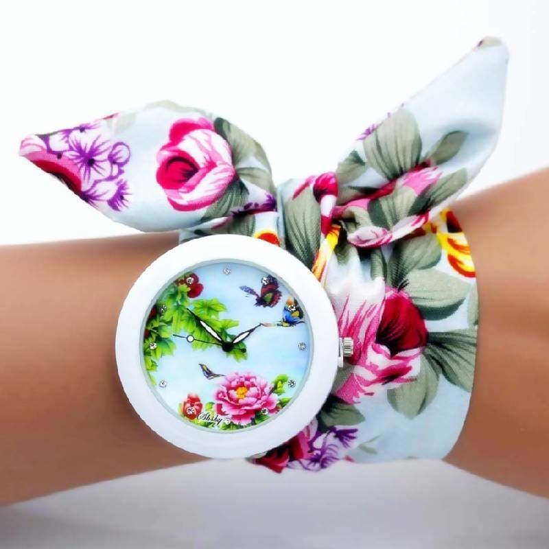 Flower Cloth Bracelet Watch Blue 1 Apparel & Accessories > Jewelry > Watches