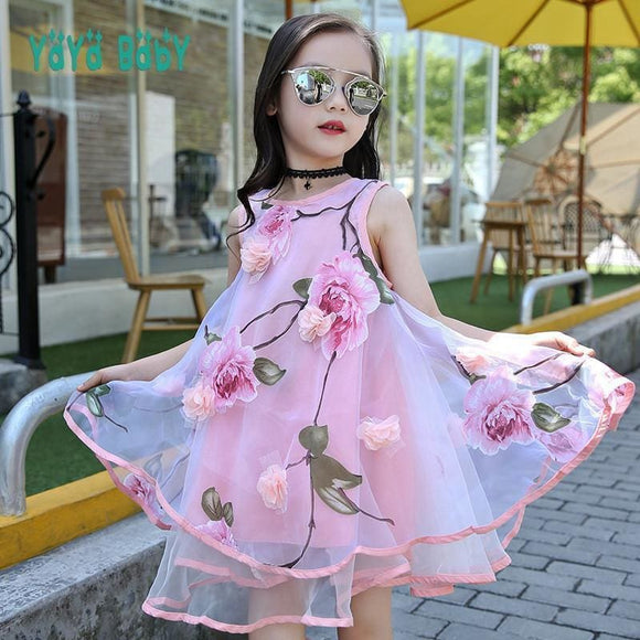 Flower Girls Dress Summer Style Toddlers Teen Children Princess Clothing Fashion Kids Party Clothes Sleeveless Dresses For Girls Shop4428158