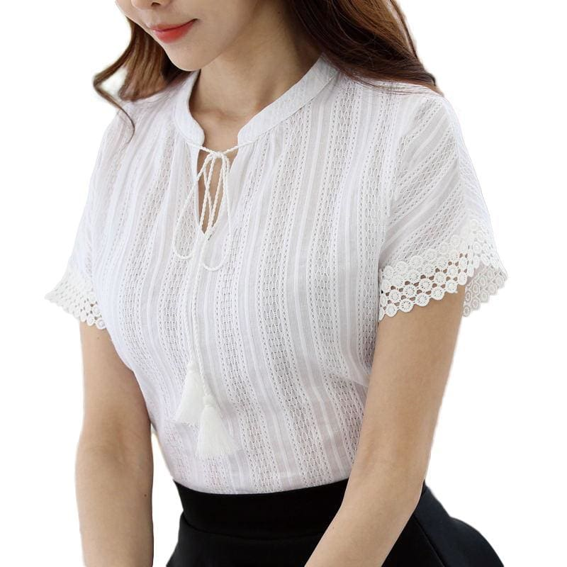 ae4963809dc Foxmertor 100% Cotton Shirt Short Sleeve Summer Women Blouses Tops Solid  Casual Lace Hollow Out