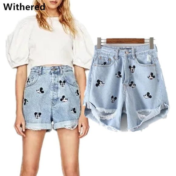 Freeshipping Denim Shorts Women High Waist Shorts Vintage Embroidery Mickey Cartoons Hole Loose Short Feminino Shorts Women Apparel &