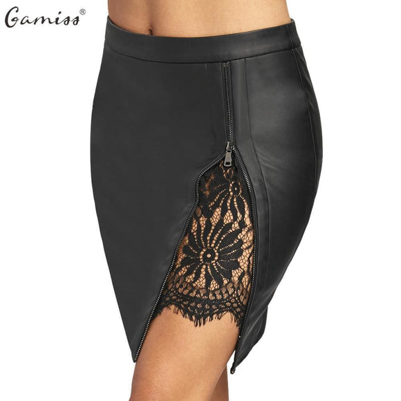 Gamiss Women Sexy Zipped Bandage Pencil Skirts Lace Insert Fitted Faux Leather Skirt Autumn Zip Up High Quality Mini Skirts Apparel &