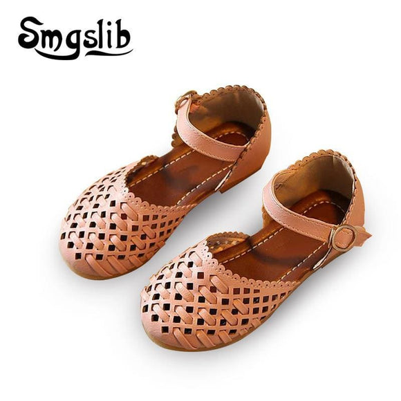 Girls Sandals Summer Toddler Gladiator Sandals Flat Shoes Fashion Children Shoes Girls Princess Cut-Outs Kids Pu Leather Shoes Smgslib Babys