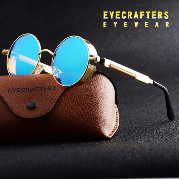 Gold Round Polarized Sunglasses Gothic Steampunk Sunglasses Mens Womens Fashion Retro Vintage Shield Glasses Eyewear Blue Apparel &
