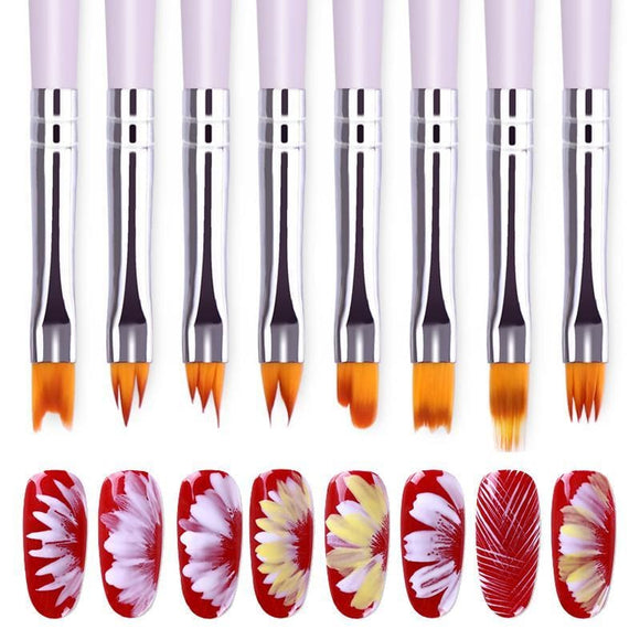 Gradient Acrylic Painting Brush Uv Gel Flower Drawing Pen Purple Handle Manicure Nail Art Tool 8 Patterns Optional Beauty & Health > Nails >