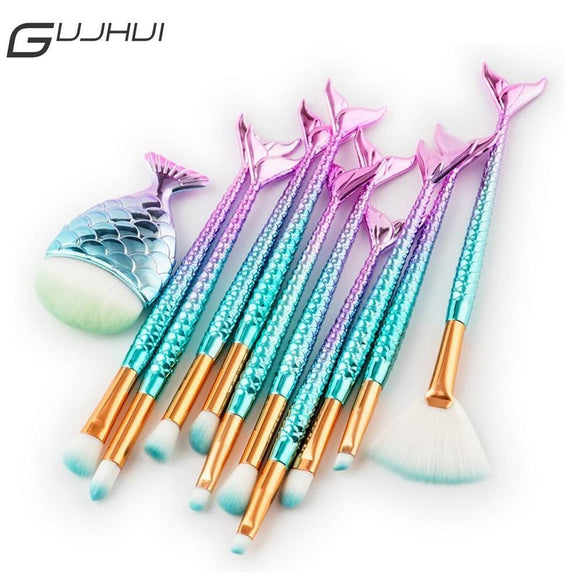 Gujhui 15Pcs Fish Tail Makeup Brush Set Powder Foundation Eyeshadow Eyelash Blending Blush Contour Make Up Brushes Kit Cosmetics Health &