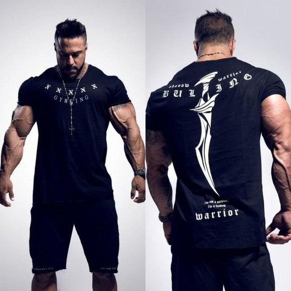 Gyms Mens Buking Summer Bodybuilding And Fitness Mens Irregular Hem Short Sleeve T-Shirt Shirt Gigantegym Store