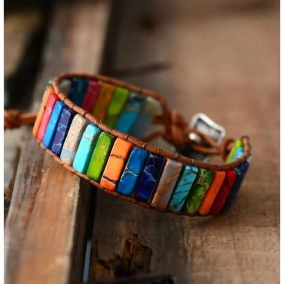 Handmade Multi Color Natural Stone Tube Beads Leather Wrap Bracelet Apparel & Accessories > Jewelry > Bracelets