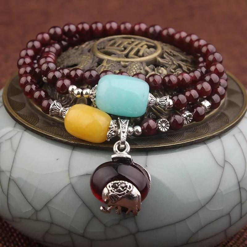 Handmade Nature Stones Ethnic Heart Red Garnet Charm Bracelet Apparel & Accessories > Jewelry > Bracelets