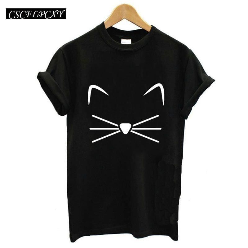 b0d9a30f98c Harajuku Black T Shirt Women Tops Punk Cartoon Cat Face Letter Print Tee  Shirt Femme T