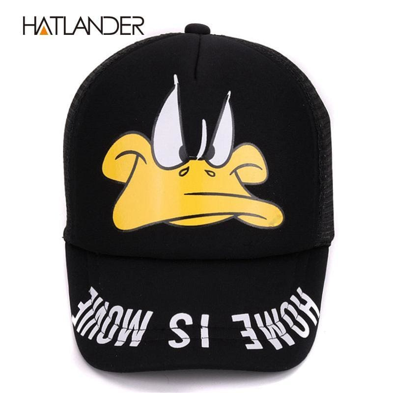 83a8ce3f164 Hatlander Cute Children Baseball Caps Baby Girls Sun Visor Hats Boys  Snapback Casquette Gorras Cartoon Duck Kids Summer Mesh Cap Yellow