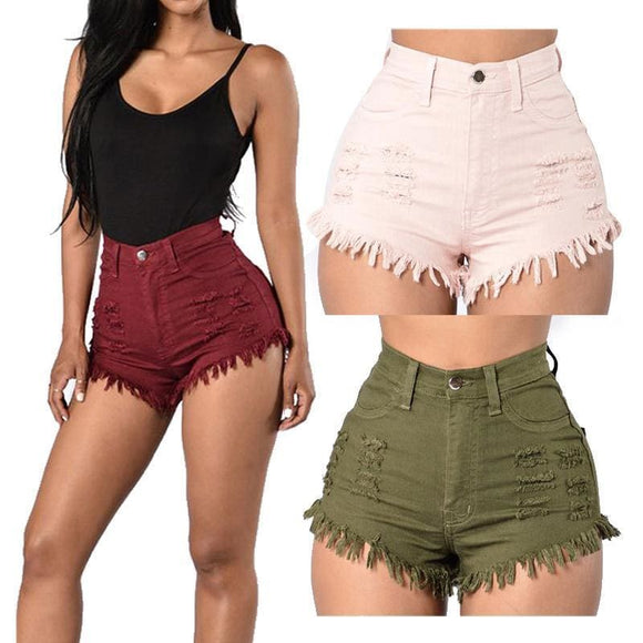 Helisopus High Waist Denim Shorts Jeans For Women Ripped Shorts Fashion Summer Casual Jeans Women Sexy Shorts Apparel & Accessories >