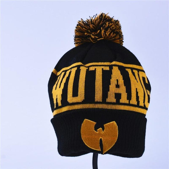 High Quality Winter Wutang Letter Clan Musice Beanie Skullies Knitted Women Wu Tang Hat Hiphop Warm Pompom Hats Caps Gold Zodeys