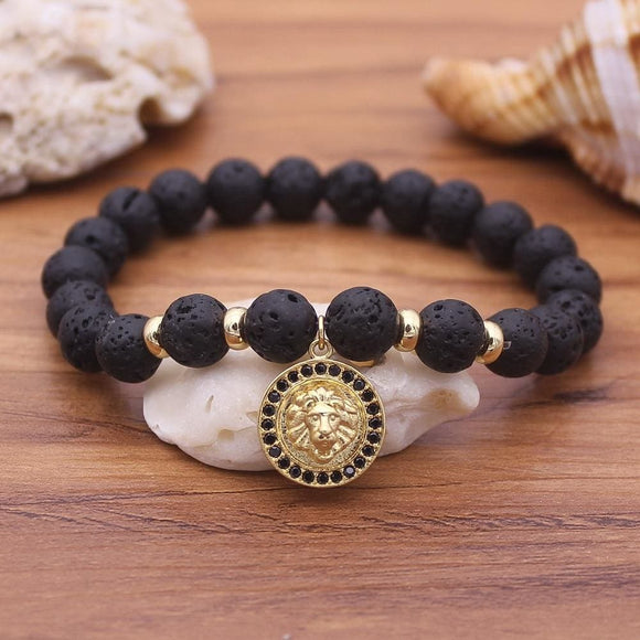 Hot Leo Lion Head Bracelet Natural Black Lava Stone Beaded Bracelets For Men Women Elasticity Diy Bracelets 4 Color Chooses Yes Watch Store