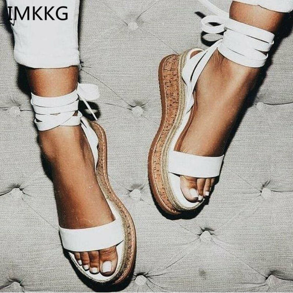 Imkkg Summer White Wedge Espadrilles Women Sandals Open Toe Gladiator Sandals Women Casual Lace Up Women Platform Sandals M364 Best Sellers