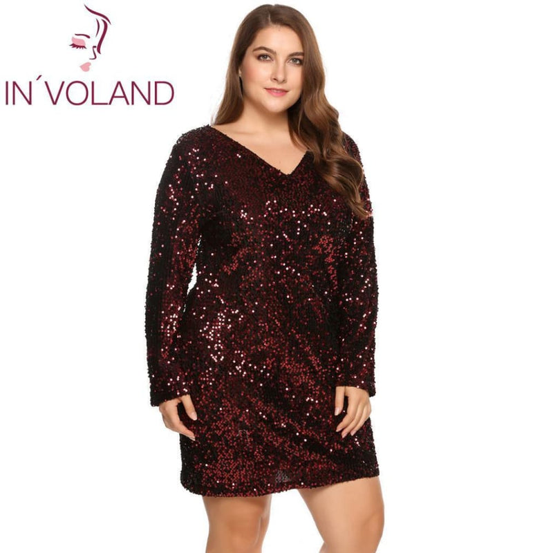 a001a510c57 Involand Womens Dress Plus Size Sexy Deep V-Neck Long Sleeve Sequined  Bodycon Cocktail Club
