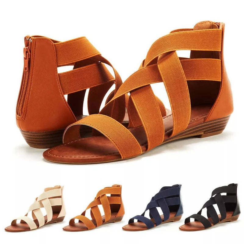 9ff3d8b6c Women s Ladies Summer Cross Elastic Strap Ankle Wedges Roman Sandals Shoes  Toe Women Girls Ankle Strap