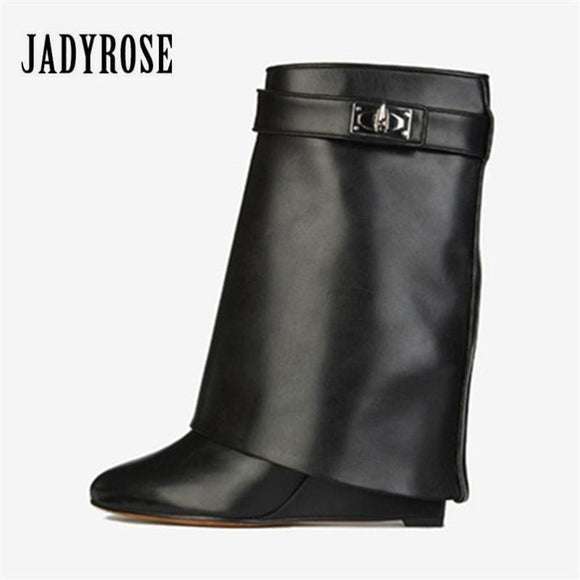 Jady Rose Shark Lock Genuine Leather Women Wedge Boots Height Increasing Fold Over High Boot Female Martin Boots Wedges Zodeys