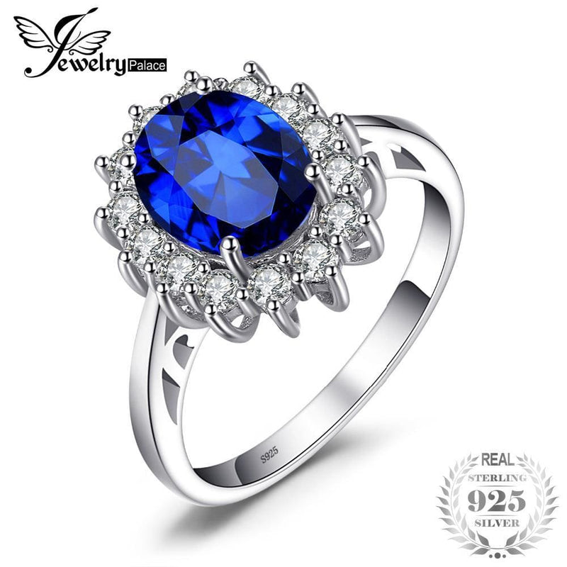 839677ae3909 Jewelrypalace Princess Diana William Kate Middletons 3.2Ct Created Blue  Sapphire Engagement 925 Sterling Silver Ring