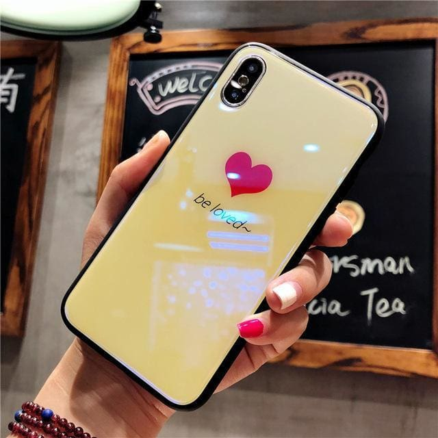 Kisscase Love Heart Tempered Glass Case For Iphone X Cute Flamingo Unicorn Owl Protective Back Cover Cases For Iphone 8 8 Plus 7 Yellow /