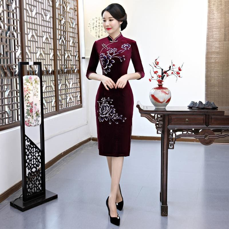 9e42246ba79 Knee Length Cheongsam Traditional Chinese Style Short Dress Womens Spring  Velour Qipao Slim Party Dresses Vestido