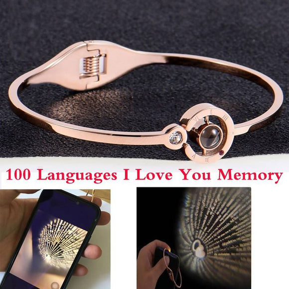 Stainless Steel 100 Languages I Love You Memory Rose Gold Charm Bracelet