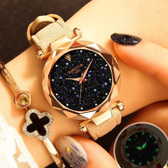 Ladies Watch Casual Fashion Quartz Watch Starry Sky Multicolor Leather Wristwatch Simple Designer Women Clock Orologio Beige Brown Blue