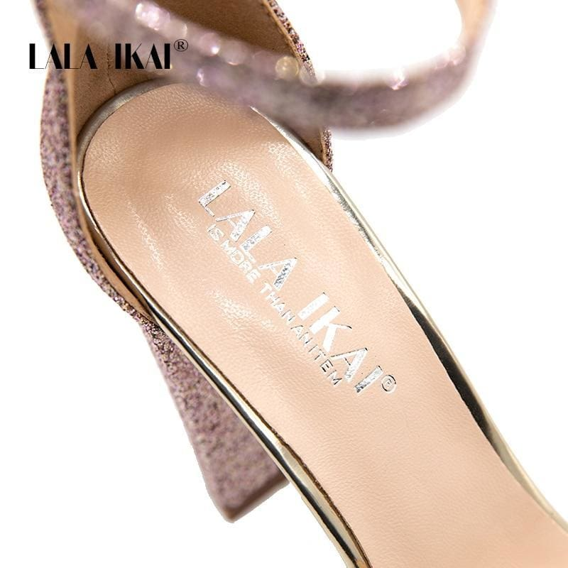 6507e1759a9 Lala Ikai Platform High Heels Women Wedding Peep Toe Sequins Sandals Party  Bling Shoes Square Heel