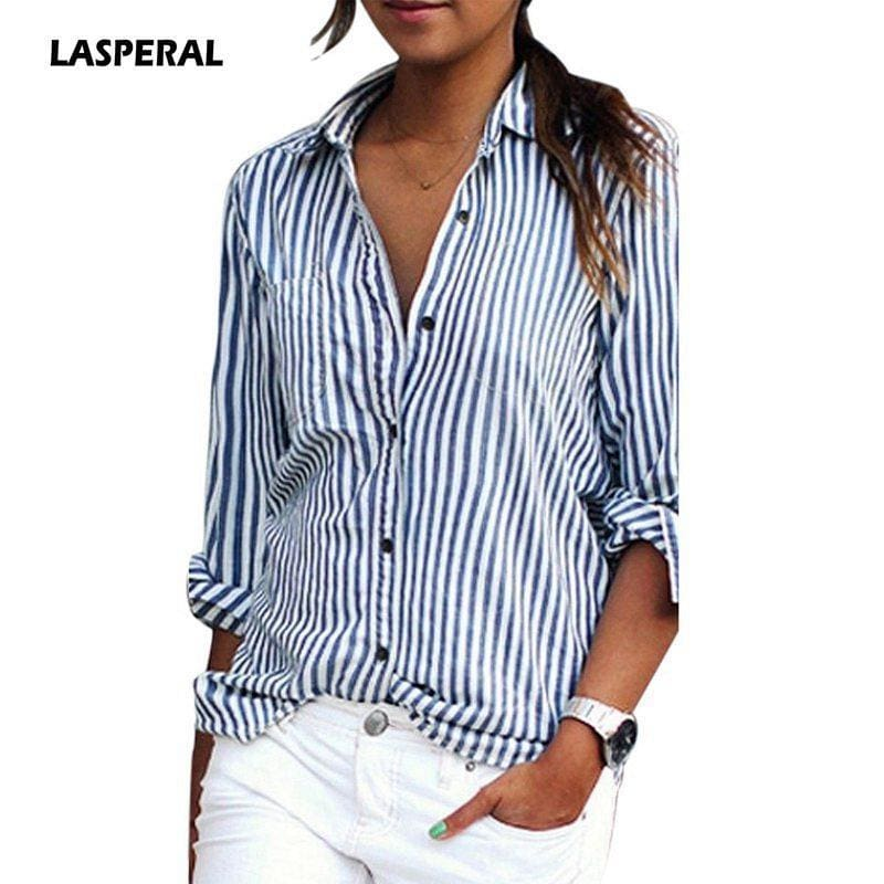 b69bf24dce0ff5 Lasperal New Autumn Women Striped Long Sleeve Shirt Turn-Down Collar Loose  Blusas Femme Casual