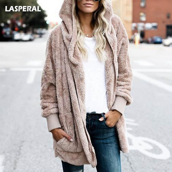 Lasperal New Year Spring Faux Fur Teddy Bear Coat Jacket Women Fashion Open Stitch Hooded Coat Female Long Sleeve Fuzzy Jacket Apparel &