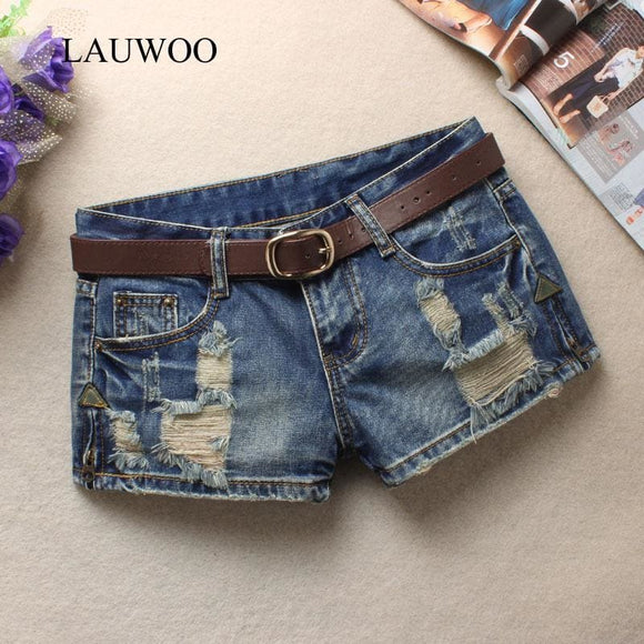 Lauwoo Summer Womens Trendy Hole Denim Shorts Fashion Beggars Shorts Jean Low Waist Shorts Without Belt Apparel & Accessories > Clothing >