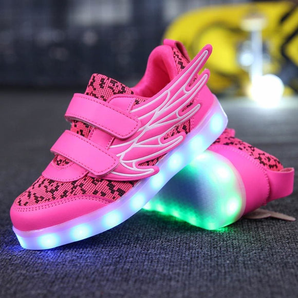 Leather 25-37 Size Usb Charging Basket Led Children Shoes With Light Up Kids Casual Boys&girls Luminous Sneakers Glowing Shoe Pink Gold