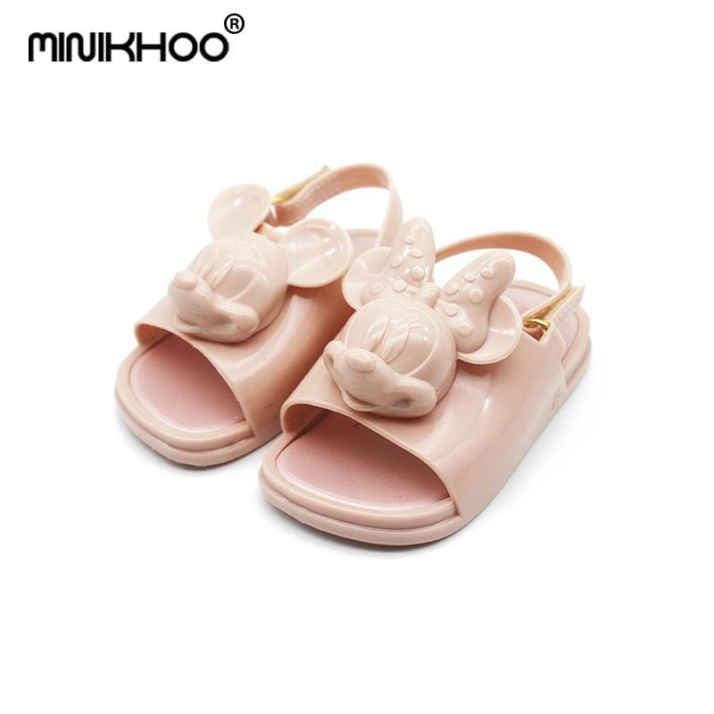 0c878601a59a Leather Mini Melissa 3D Mickey   Minnie Jelly Shoes Girls Sandals Soft  Comfort Toddler Sandals Melissa