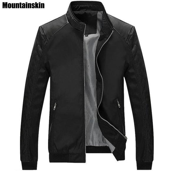 Leather Mountainskin 5Xl Spring New Mens Pu Patchwork Jackets Casual Mens Thin Jackets Solid Slim Coats Clothing Sa167 Mountainskin Official