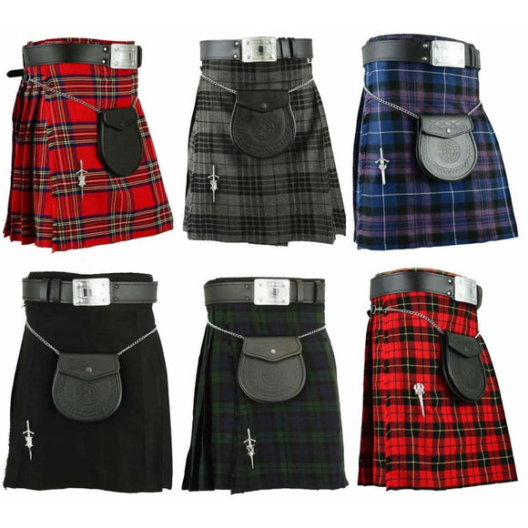 Leather Scottish Mens Kilt Traditional Highland Dress Skirt Kilts Tartan Mens > Clothing & Accessories
