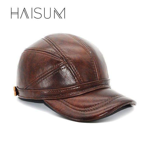 Limited Adult Patchwork Haisum Genuine Leather Baseball Cap Mens Winter Hats With Ears 2 Color Highest Quality Cs52 Apparel & Accessories >
