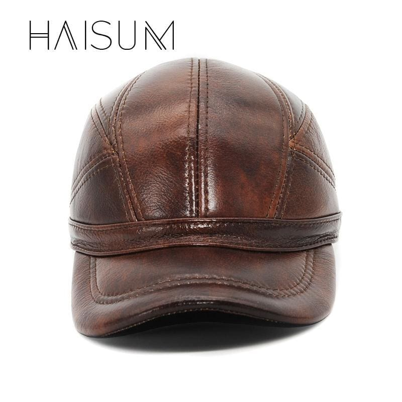 0b47297d589f Limited Adult Patchwork Haisum Genuine Leather Baseball Cap Mens Winter Hats  With Ears 2 Color Highest