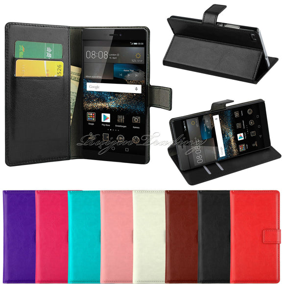 Luxury Flip Leather Stand Mobile Phone Case For Huawei P7 P8 P8 Lite Y330 Wallet Cover Case For Huawei P8 lite With Card Slot-Phone Cases-Zodeys-Black-For Huawei Ascend P7-Zodeys