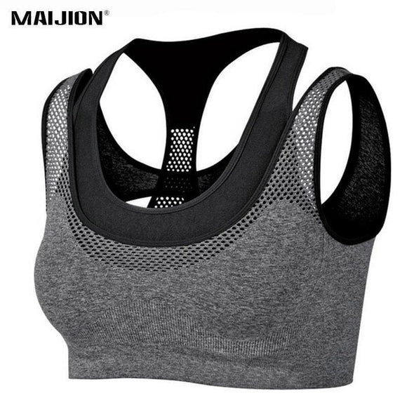 Maijion Absorb Sweat Quick Dry Shockproof Fake Two-Piece Sports Bra Fitness Underwear Running Sleep Vest Crop Top Seamless Bras Apparel &