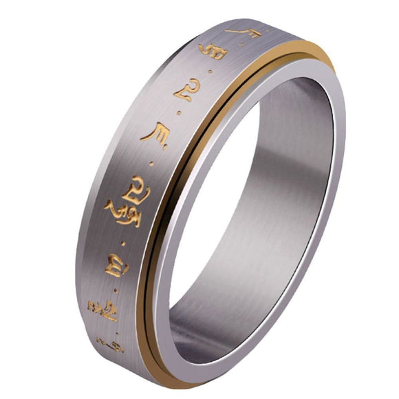 Mantra Rings Spinner For Good Luck Ring For Men Brushed Design With Bold Gold Color Letter Punk Style Titanium Steel 6 Sizes Mens > Jewelry