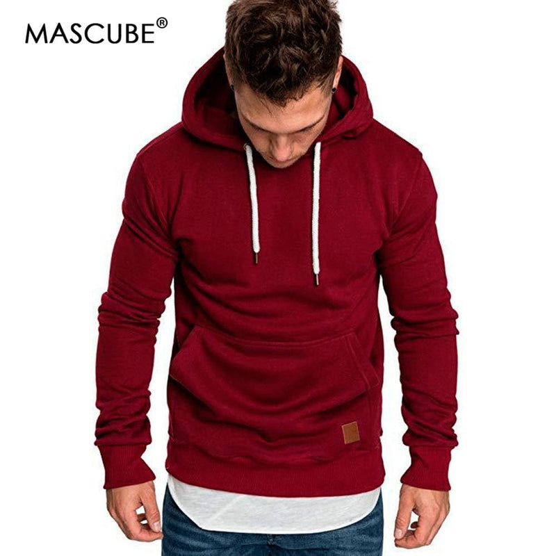 ccd31c09a79 MASCUBE 2018 New Autumn Winter Fashion Color Hoody Male Large Size Warm  Fleece Coat Men Brand
