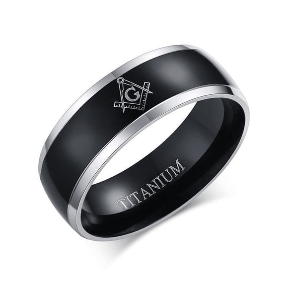Matte Black Polished Titanium Carbide Masonic Ring Jewelry & Accessories > Rings