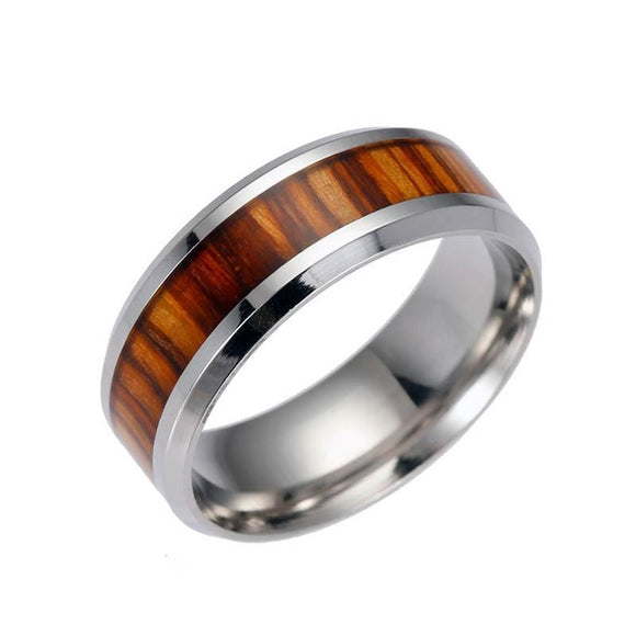 Men Rings Delicate Wood Inlay Titanium Steel Silver Ring Men Luxury Engagement Wedding Ring Trendy Handsome Jewelry Gifts Princess Jewelery